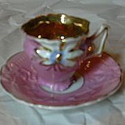 Old Pink Demitasse Cup & Saucer Set Fine Dining