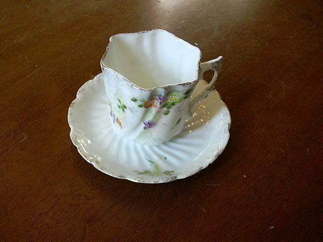 Old Miniature Or Demitasse Cup & Saucer Set Unusual Handle