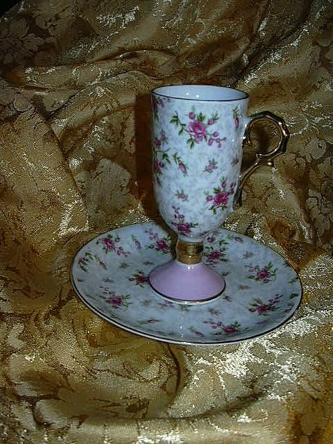 Pedestal Cup Saucer Set Pink Vintage Cups