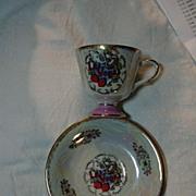 Las Vegas Vintage Pedestal Cup Saucer Set Luster Porcelain