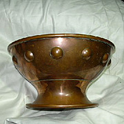 Elegant Old Copper Footed Bowl