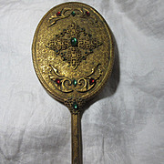 Jeweled Hand Mirror Gold Gilt & Faux Jewels