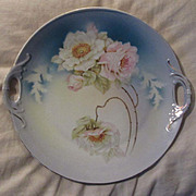 Artist Hand Painted Roses Flowers Cake Plate With Handles