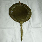 Antique Brass Hand & Hanging Mirror India Middle Eastern