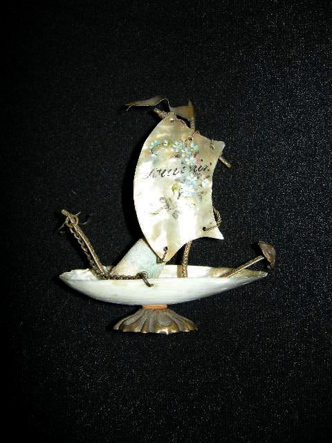 MOP Mother Of Pearl Ship  Thimble Holder