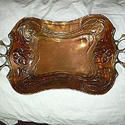English Art Nouveau 19th C Copper & Brass  Tray Flowers & Vines