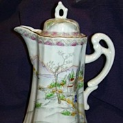 Coffee or Chocolate Pot Old Oriental Design Fine Dining China From Japan