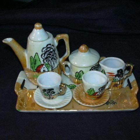 Lustre Miniature Tea Set Tray Teapot Sugar Creamer Cups & Saucers Fine Childrens China