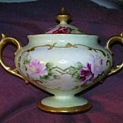 Hand Painted Covered Sugar Bowl Fine Dining Decorative China