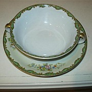Noritake Condoro Cream Soup Cup & Saucer Set Fine Dining China