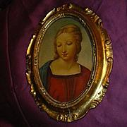 Italian Florentine Plaque Virgin Mary Religious Art Gold Gilt Gesso Frame