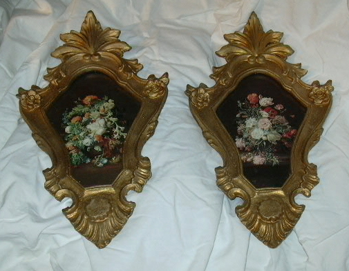 Pair Italian Florentine Gold Gilt Picture Frames Gesso On Wood Old Flower Prints