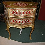 Italian Florentine Gold Gilt & Red Chest Commode Fine Furniture Table
