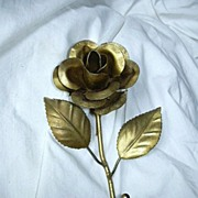 Gold Painted Florentine Rose & Leaf Wall Hook