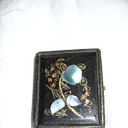Antique Daguerreotype Case Papier Mache & Mother Of Pearl