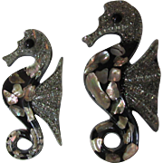 SOLD Pair of Abalone Seahorses