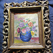 Miniature Painting Vase With Flowers Original Art