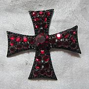 Rare Weiss Red Rhinestone Cross Brooch Pin