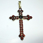 Victorian Garnet Gold Filled Cross