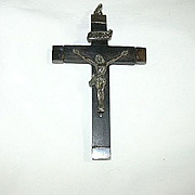 Old Nuns Crucifix Wood & Silver Metal