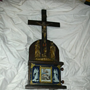SALE PENDING Rare Crucifix Statue & Revolving Stations Of The Cross