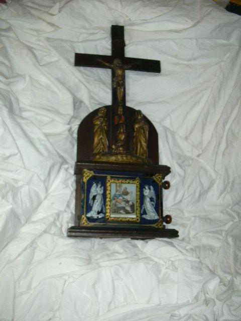 Rare Crucifix Statue & Revolving Stations Of The Cross