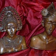 Hand Carved Wood Bust  Man & Woman Kashmir India Indian Middle Eastern Woodcraft Statues Ethni