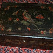 SALE Antique Box Oriental Lacquer Ware Birds Flowers Fine Lacquerware Art