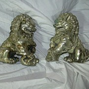 Old Silver Metal Foo Dogs Snow Lions Tibet China Statue
