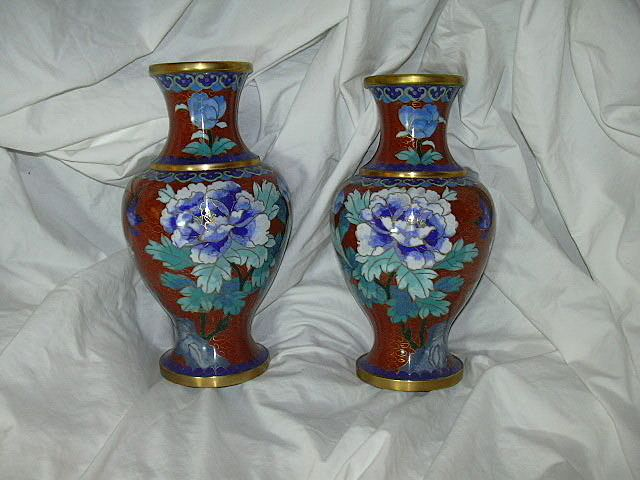 True Pair Chinese Cloisonne vases Elegant Blue Flowers