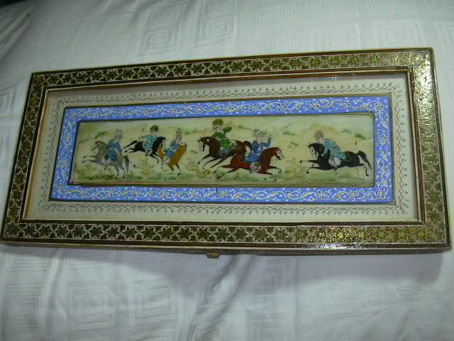 Persian Middle Eastern Art Painting  Mogul Hunters On Horses
