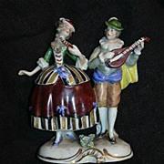 Rudolstadt Germany Ernst Bohne Sohne Capodimonte Style  Figurine Couple Courting Musician Figu