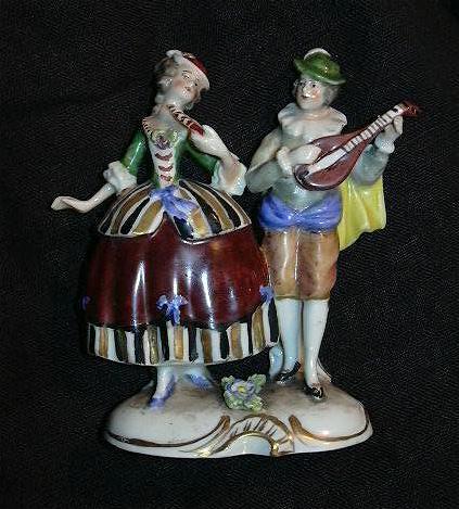 Rudolstadt Germany Ernst Bohne Sohne Capodimonte Style  Figurine Couple Courting Musician Figures Fine Porcelain