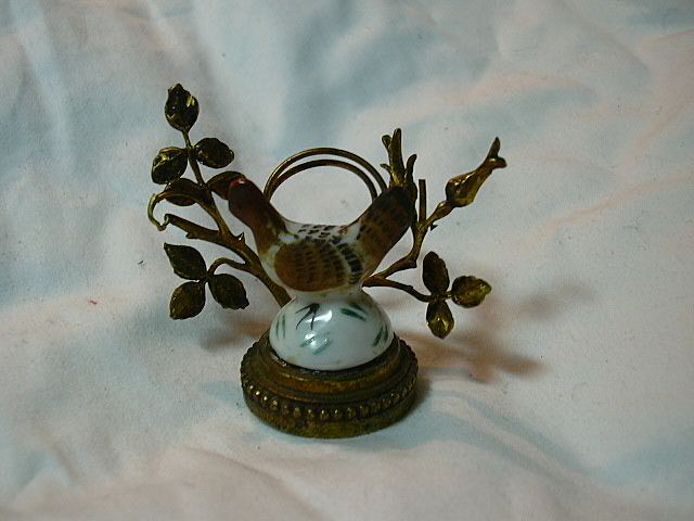 Antique French Place Card Holder Porcelain Bird