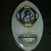 Old French St Therese Enamel With Art Holy Water Font
