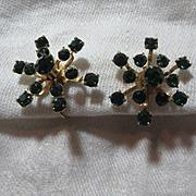 Coro Green Rhinestone Earrings