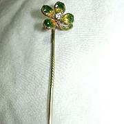 Enamel Four Leaf Clover Stickpin Pin