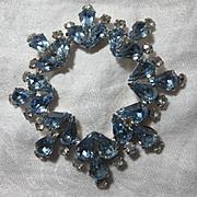Weiss Huge Blue Rhinestone Brooch Signed Costume Jewelry
