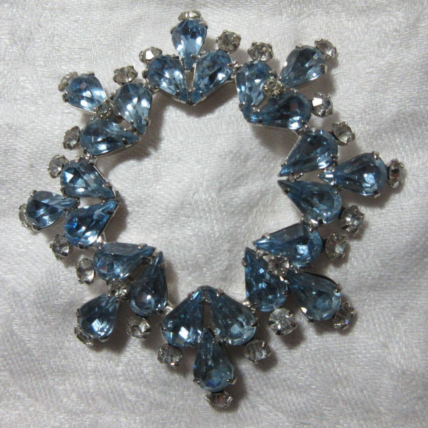 Weiss Huge Blue Rhinestone Brooch Signed Costume Jewelry