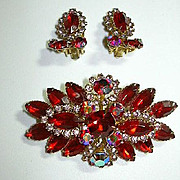 Beaujewels Red Brooch & Clip Earring Set Demi Parure