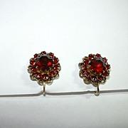 Red Rhinestone Sarah Coventry Clip Earrings