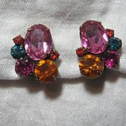 Hot Colors  Rhinestone Clip Earrings