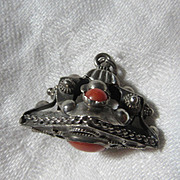Large Ornate Silver Charm Coral Stones