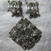 Weiss Rhinestone Brooch Earring Set