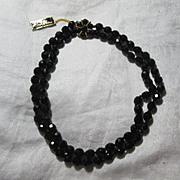 Old Richelieu Black Glass Beads Necklace