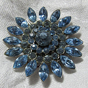 Blue Rhinestone Pin Brooch