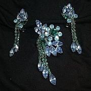 Blue & Green Rhinestone Pin Earring Set