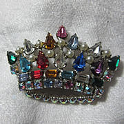 Brilliant Colored Rhinestone Crown Pin