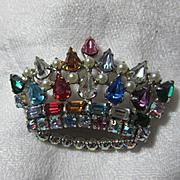 Brilliant Colored Rhinestone Crown Pin