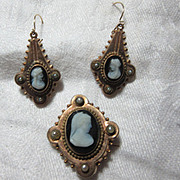 Victorian Gold Filled Cameo Pin & Earring Set Fine Jewelry